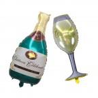 Champagne Bottle + Glass Set Foil Balloon